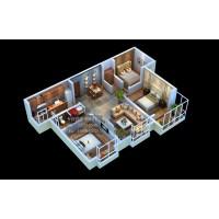 南宁3D别墅户型图设计|机房模块化效果图制作|整体户型鸟瞰图