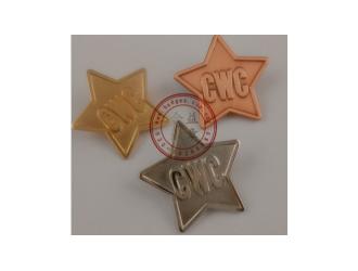 五角星徽章、电镀胸针、公司襟章、冲压徽章制作