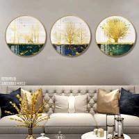 新款金山圆形装饰画新中式玄关茶室壁画现代组合客厅书房