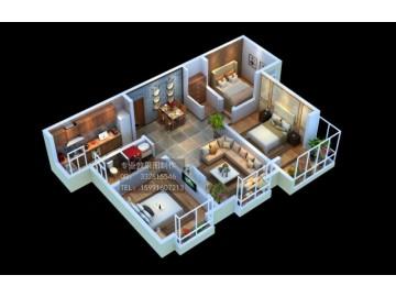 南宁3D别墅户型图设计 机房模块化效果图制作 整体户型鸟瞰图
